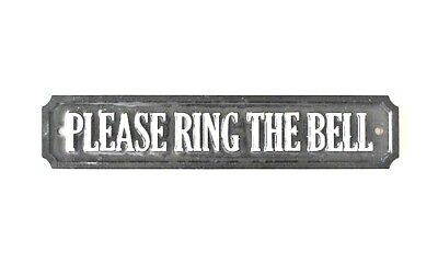 'silver' - Rectangular Please Ring The Bell Sign/ Plaque Wall Or Door Mounted