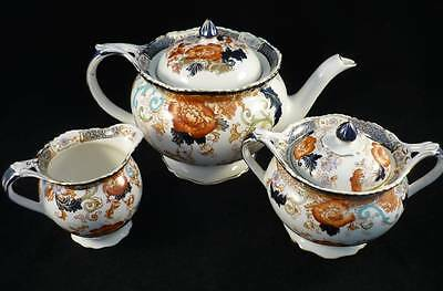 Verona - Wood & Sons - Vintage Teapot + Sugar Bowl + Creamer Cobalt Blue / Rust