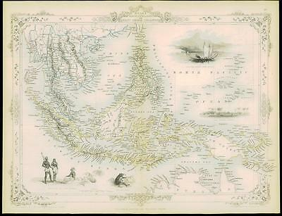 "c1850 ""MALAY EAST INDIA ISLANDS"" Map Tallis MALAYA SINGAPORE BORNEO NEW GUINEA"