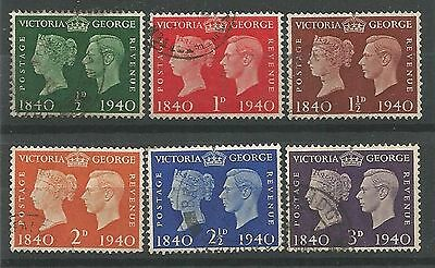 1940 Stamp Centenary Set of 6 Very Fine Used