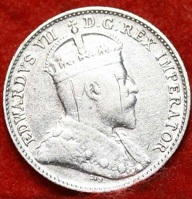 1907 Silver Canada 5 Cents Foreign Coin Free S/H