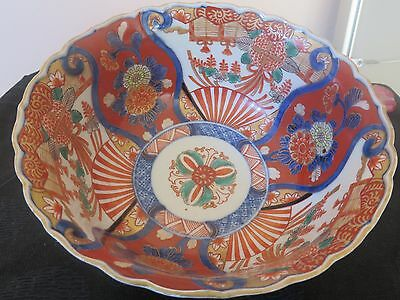 Antique Japanese porcelain Imari bowl Unusual Decoration Combed Foot Rim