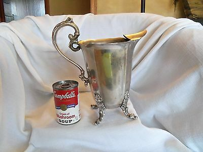 Ornate Silver Plate Regency Footed Water Pitcher Ice Guard