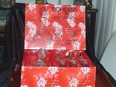 Fabulous Vintage Bohemian  Crystal Sherry Set Boxed C 1970's
