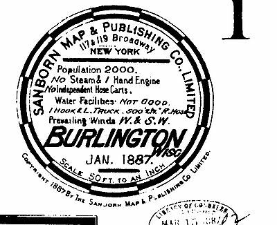 Burlington, Wisconsin~Sanborn Map© sheets~ 1887, 1892 ~~ 7 maps on CD