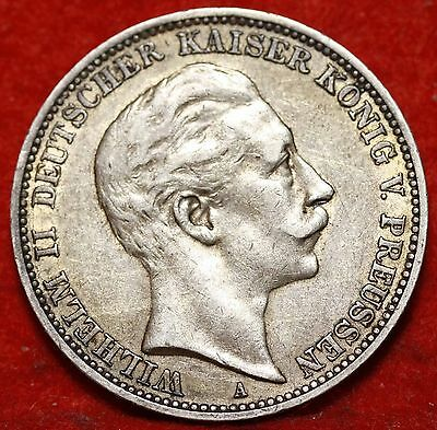 1909A German State Prussia 3 Mark Silver Foreign Coin Free S/H