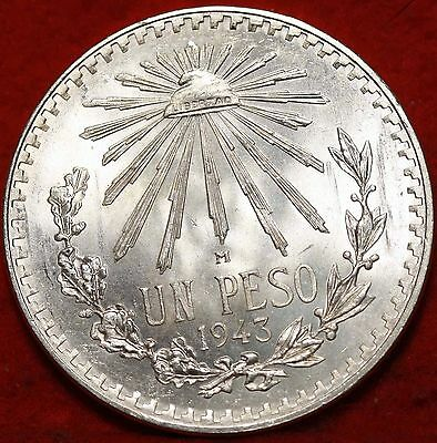 Uncirculated 1943 Mexico Peso Silver Foreign Coin Free S/H