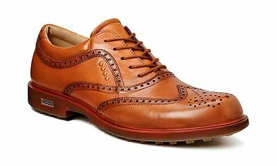 ECCO Mens Tour Hybrid Wing Tip Lion/Ochre Waterproof Leather Golf Shoes