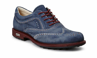 ECCO Mens Tour Hybrid Wing Tip Navy Port Waterproof Leather Golf Shoes