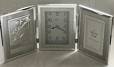 Silver Bulova Clock With Bear Plaque and Picture Frame, Engravable, New