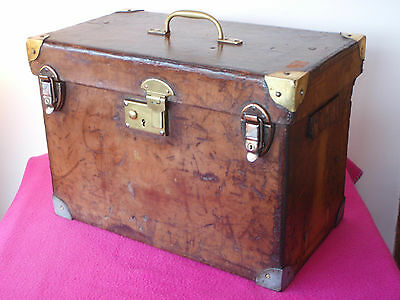 ? Vintage Distressed Leather Storage Box+Brass Detailing/Great Low Table / Chest