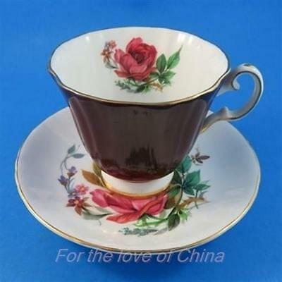 Deep Red Exterior with Bright Floral Bouquet Royal Grafton Tea Cup and Saucer