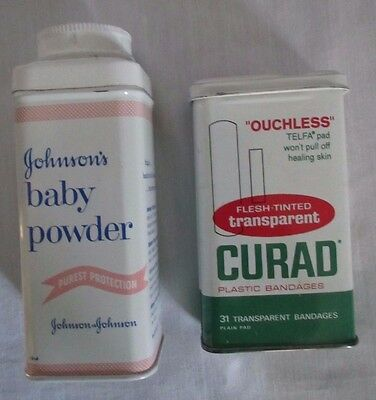 Vintage CURAD OUCHLESS BAND-AID  AND JOHNSONS BABY POWDER TINS