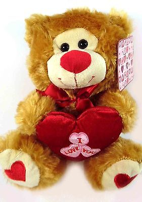 """10"""" Valentine Bear with Heart Brown"""