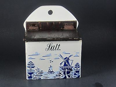 Vintage Antique German Porcelain Salt Box/Cellar  Canister w Wood Lid