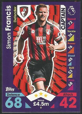 2016/2017 EPL Topps Match Attax Card #6 Simon Francis - AFC Bournemouth