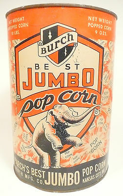 1950's BURCH POPCORN MACHINE 10 lb EMPTY POPCORN CAN #4 - Export, Pa Theatre