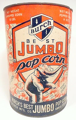1950's BURCH POPCORN MACHINE 10 lb EMPTY POPCORN CAN #7 - Export, Pa Theatre