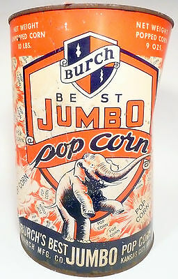 1950's BURCH POPCORN MACHINE 10 lb EMPTY POPCORN CAN #8 - Export, Pa Theatre