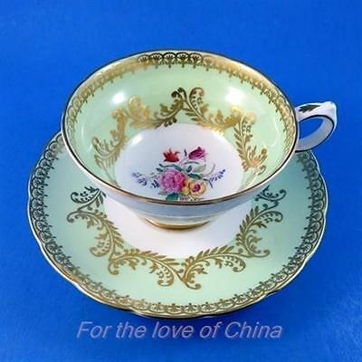 Light Green with Floral Center Grosvenor Tea Cup and Saucer Set