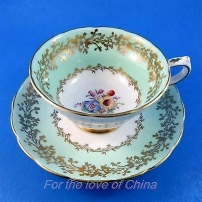 Light Blue / Green with Floral Center Grosvenor Tea Cup and Saucer Set