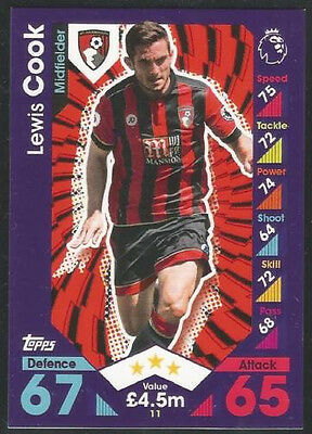2016 / 2017 EPL Topps Match Attax card #11 Lewis Cook - AFC Bournemouth