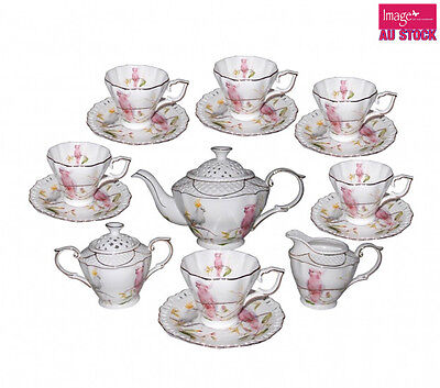 Cockatoo of 15pcs Tea Coffee Cup & Saucer Fine Bone China Collectable Gift CW688