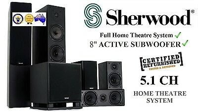 "Sherwood Intimo 5.1 Home Theatre 6 Speaker System w/ 8"" Active Subwoofer *RFB*"