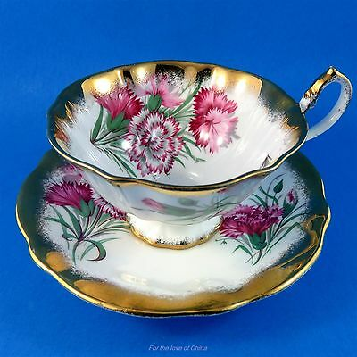 Queen Anne Carnations with Rich Gold Edge Tea Cup and Saucer Set