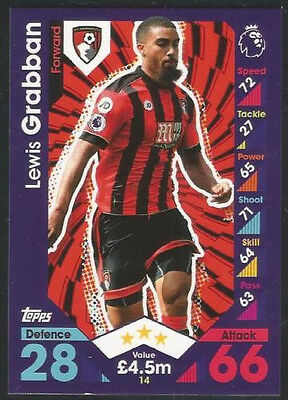2016 / 2017 Topps EPL Match Attax Card #14 Lewis Grabban - AFC Bournemouth