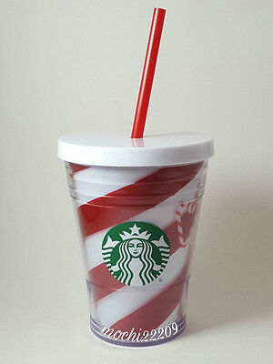 Starbucks 2016 Candy Cane Stripe Holiday Christmas Cold Cup Tumbler 12 oz NEW