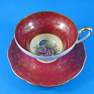 Red Signed Taylor & Handpainted Floral Center Foley Tea Cup and Saucer Set