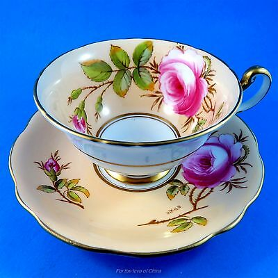 Signed A Taylor Handpainted Pink Roses on Peach Foley Tea Cup and Saucer Set