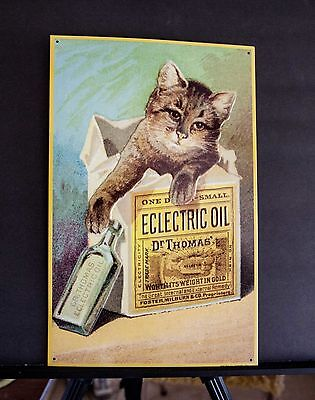 Lot of 2 kitten /cat embossed tin cats tin signs AAA sign Co circa 1995 sailing