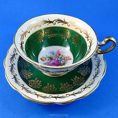 Deep Green and Floral Center Foley Tea Cup and Saucer Set