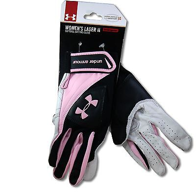 Under Armour Women's Laser II Pink/Black/White Softball Batting Gloves Sz LG
