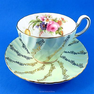 Swirl Light Green and Gold and Floral Bouquet Foley Tea Cup and Saucer Set