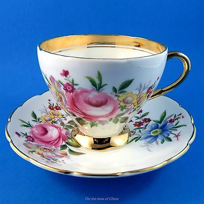 Gorgeous Colorful Floral and Gold Border Foley Tea Cup and Saucer Set
