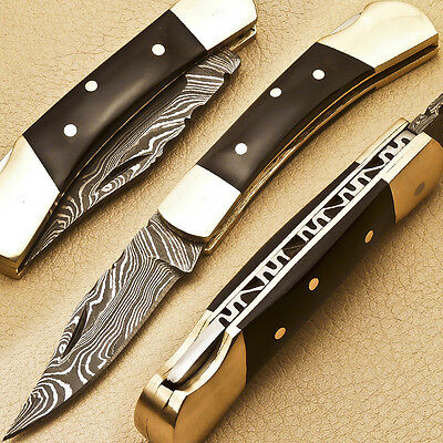 Hand Forged Damascus Folding Pocket Knife - Back Lock - R-4030