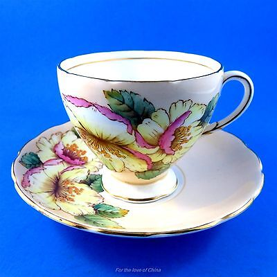 Beautiful Handpainted Florals Foley Tea Cup and Saucer Set