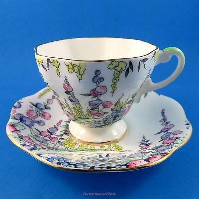 Handpainted Floral Scenic Foley Tea Cup and Saucer Set