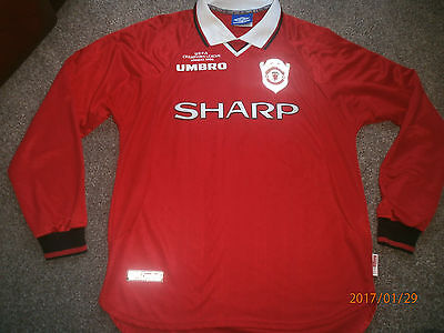 Very Rare 1999  Manchester  United  Long Sleeved   Football Shirt - Large