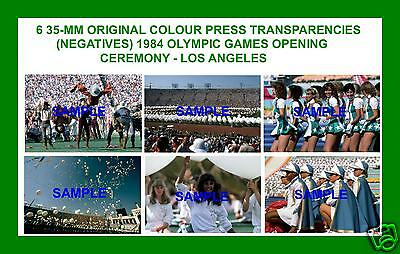 6 Original 1984 Press Transparencies (Negatives) Olympic Games Opening Ceremony