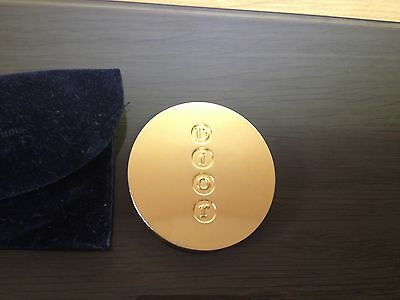 DIOR vintage and genuine gold colour small mirror in velvet pouch