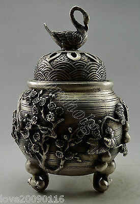 Collectible Old Handwork Silver Plate Copper Carved Gourd Swan Incense Burner