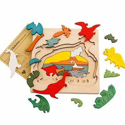Wooden Puzzle Dinosaur Toys Animal Toy Baby Children Educational Puzzle for