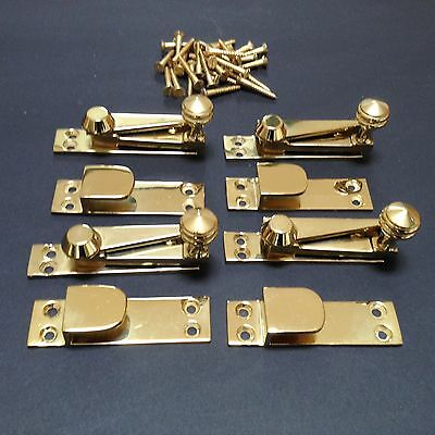 4No. Sash Window Fasteners in Polished Brass. Made by Carlisle Brass. USED