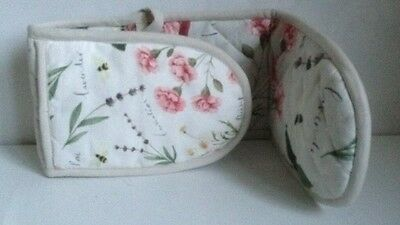 New Double Oven Gloves Mitt 100% Cotton Floral Cook Kitchen Cooking
