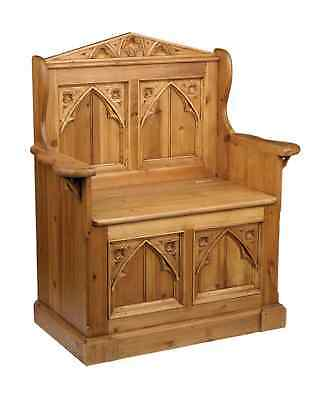 Gothic Style Old Pine Monks Bench Pew Settle Storage