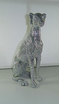 CUTE BLING DIAMANTE SILVER REFLECTIONS SEATED GREY HOUND / WHIPPET FIGURINE 40cm
